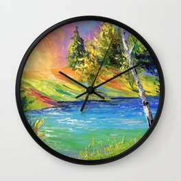Birch by the river Wall Clock