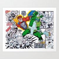 starlord Art Prints featuring Starlord Vs. Evil by Hugo Maldonado