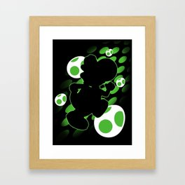 Super Smash Bros. Green Yoshi Silhouette Framed Art Print