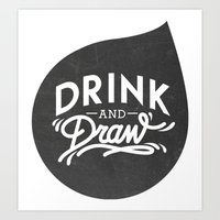 logo Art Prints featuring Logo by drinkanddrawmilano