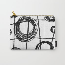 Black and White Ink Lines and Circles Carry-All Pouch