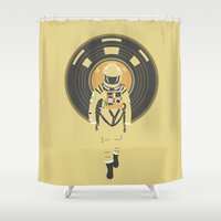 dj Shower Curtains featuring DJ HAL 9000 by Robert Farkas