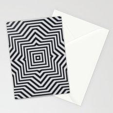 Minimal Geometrical Optical Illusion Style Pattern in Black & White Stationery Cards