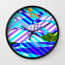 Kentucky Mountains and Lake in Winter Quilt Abstract Wall Clock