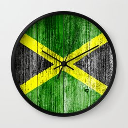 Jamaica Flag Grungy Distressed Board Wall Clock