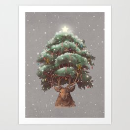 Reindeer Tree Art Print