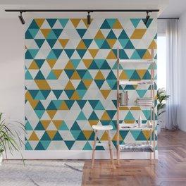Cyan Orange Gray Triangles Wall Mural