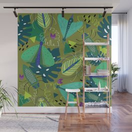 Bugs in tropical forest pattern design Wall Mural