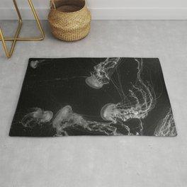 Jellyfish (Black and White) Rug