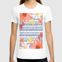 Indigo with watercolor flowers T-shirt