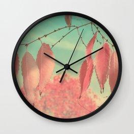 Flamingo Pink Autumn Leaves Wall Clock