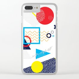 Memphis Pattern Clear iPhone Case