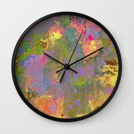 Messy Art II - Abstract, pastel coloured artwork in a random, chaotic, messy style Wall Clock