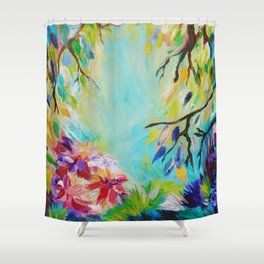 BLISS - Stunning Bold Colorful Idyllic Dream Floral Nature Landscape Secret Garden Acrylic Painting Shower Curtain