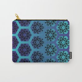 Black and Teal Honeycomb Illusion Graphic Design Pattern Carry-All Pouch