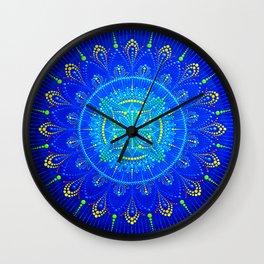 Blue mandala painting on canvas Wall Clock