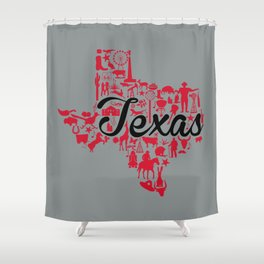 University of  Houston -Texas Landmark State - Red and Gray UH Theme Shower Curtain