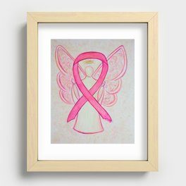 Pink Breast Cancer Awareness Ribbon Angel Art Painting Recessed Framed Print