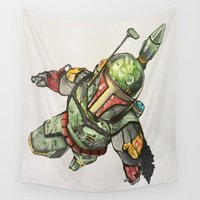 boba Wall Tapestries featuring Boba Fett by Glen Howy