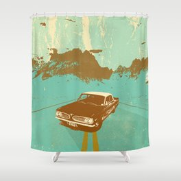 LONE BLUE ROAD Shower Curtain