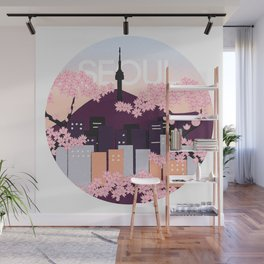 Seoul Tower with Cherry Blossoms Woodblock Style Souvenir Print Wall Mural
