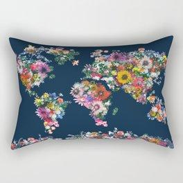 world map floral Rectangular Pillow