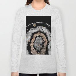 Gray Black White Agate with Gold Glitter on Black #1 #gem #decor #art #society6 Long Sleeve T-shirt