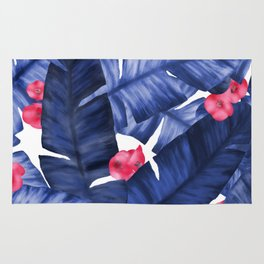 Tropical Banana Leaves With Flower Pattern Rug