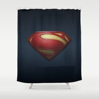 superman Shower Curtains featuring SUPERMAN by Bilqis
