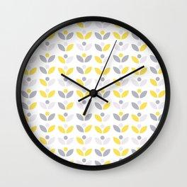 Yellow and Grey Abstract Flower Pattern #society6 #decor #buyart #artprint Wall Clock