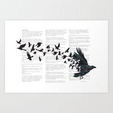 Vintage Style Print with Poem Text Edgar Alan Poe: Edgar Alan Crow Art Print