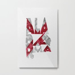 Alabama Typographic Flag Map Metal Print