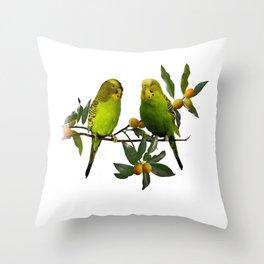 Budgies in Kumquat Tree Throw Pillow