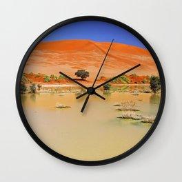 Water in the Namib desert after rain season, Namibia Wall Clock