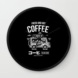 Fresh and Hot Coffee Food Truck Wall Clock
