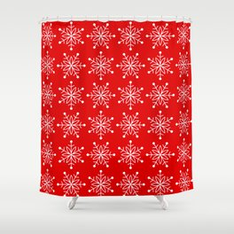 Christmas Snowflake Stars Pattern in Holly Jolly Red Shower Curtain