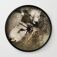 sheep Wall Clocks featuring Sheep by John Beswick