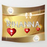 rihanna Wall Tapestries featuring Rihanna 01 by Daftblue