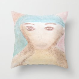 Spiritual Chalks Drawing of Mother Teresa of Calcutta, India Throw Pillow