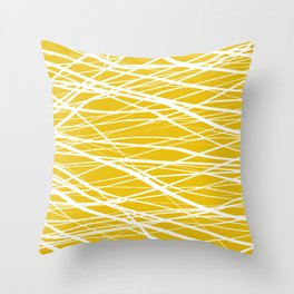 Stripes Shakers Mustard and White Throw Pillow