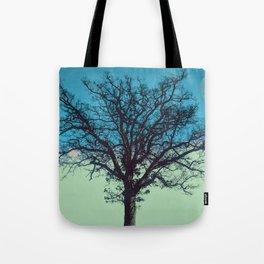 Teal and Aqua Abstract Moonlit Sky Tree Landscape A325 Tote Bag