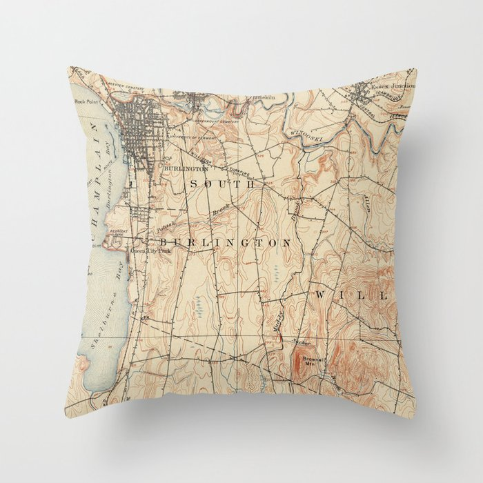 Vintage Burlington Vermont Topographic Map (1904) Throw Pillow by ...