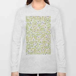 Watercolor Olive Branches Pattern Long Sleeve T-shirt