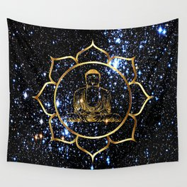 Gold funky Space Buddha Wall Tapestry
