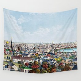 1877 Panoramic Portrait of Providence, Rhode Island by Packard and Schwegler Wall Tapestry