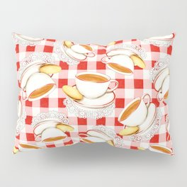 Cup of Tea, a Biscuit and Red Gingham Pillow Sham