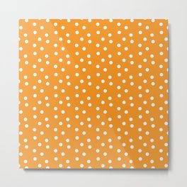 Orange and White Polka Dots Metal Print
