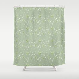 Mint green watercolor hand painted floral leaves Shower Curtain