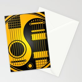 Yellow and Black Acoustic Electric Yin Yang Guitars Stationery Cards