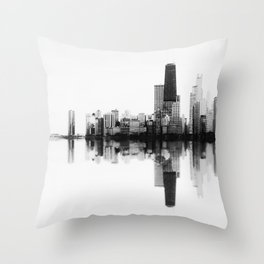 Chicago Skyline- SoundWave in Black & White Throw Pillow